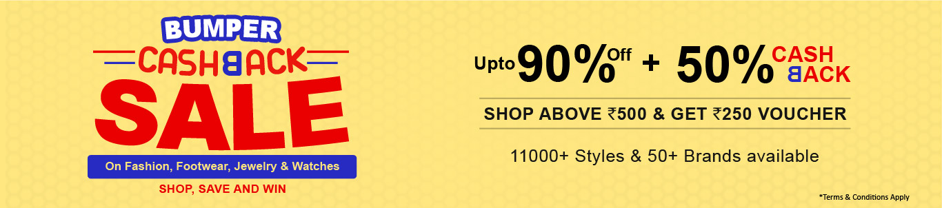 Upto 90% off + 50% Cashback on Fashion, Footwear, Jewelry and watches
