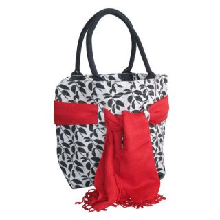 Earthbags Leaf Print Jute Bag With Matching Scarf