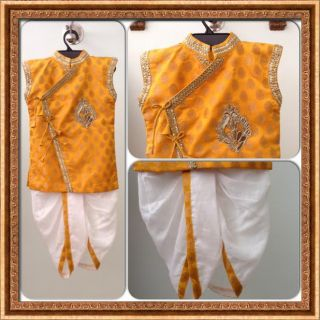 Yellow Dhoti Angrakha For Boy