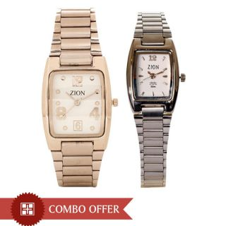 Zion Amorous Pair of Analog Stainless Steel Watches  - Women & Men