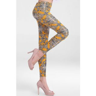 Qurves Vintage Floral Print Stretch Leggings