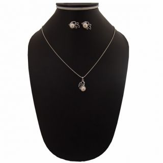 Nisa Pearls Pendant Set With Chain  and Pendant Emblished With Pearl available at ShopClues for Rs.350