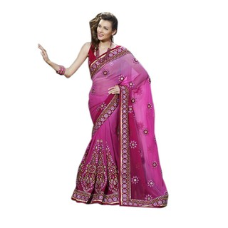Lovely First Loot Embroidered Faux Georgette Saree available at ShopClues for Rs.15699