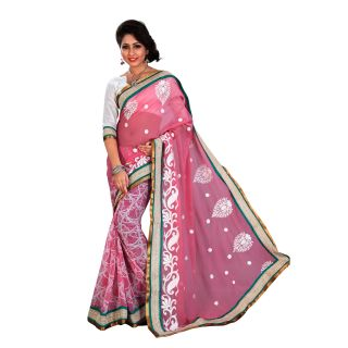 Urjita Creations Pink Colour Resham Embroidered Designer Party Wear Saree With B available at ShopClues for Rs.825