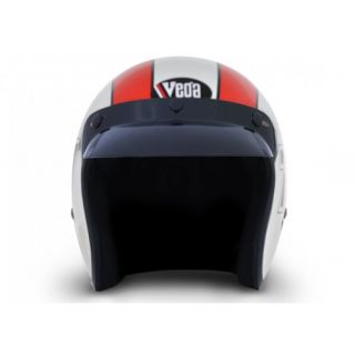 VEGA JET 777 WHITE BASE WITH RED STRIPE GRAPHIC HELMET