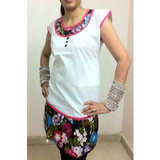 Printed Punjabi White kurti by Gossip Fashion