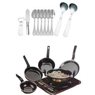 Toro Cookware Set of 5 Piece & Cutlery Set of 10 Piece (Combo)