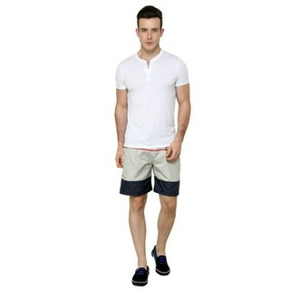 Nu9 Mens Stone-Grey Shorts
