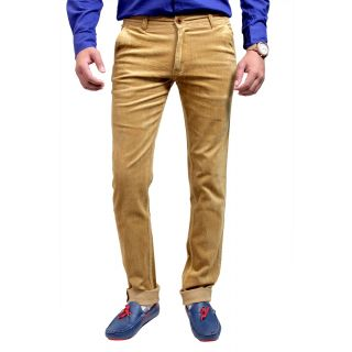 Men's Khakhi Slim Fit Corduroy Casual Trouser (TFMCORCD101S5)