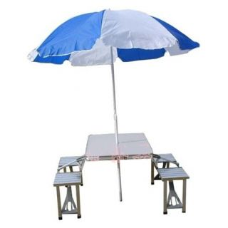 Aluminium portable folding picnic table chairs set with - Aluminium picnic table with umbrella ...