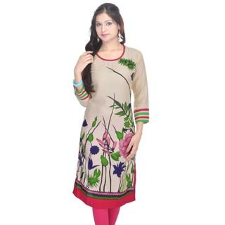 Shop Rajasthan Multicolor 3/4 Sleeve Casual Formal  Scoop Neck Womens Floral Print Kurti