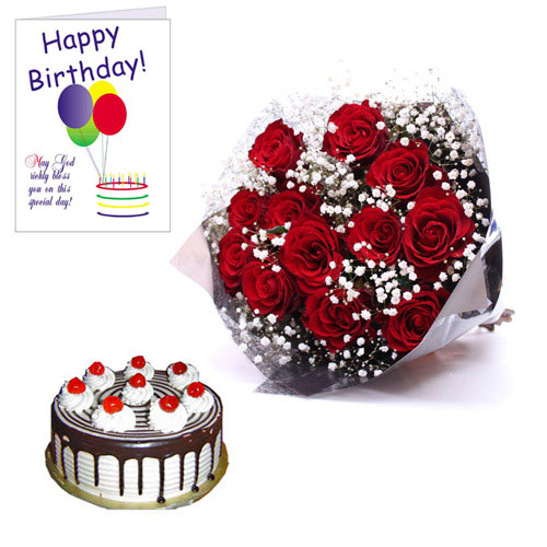 Happy Birthday Roses Card Happy Birthday Card Red Roses