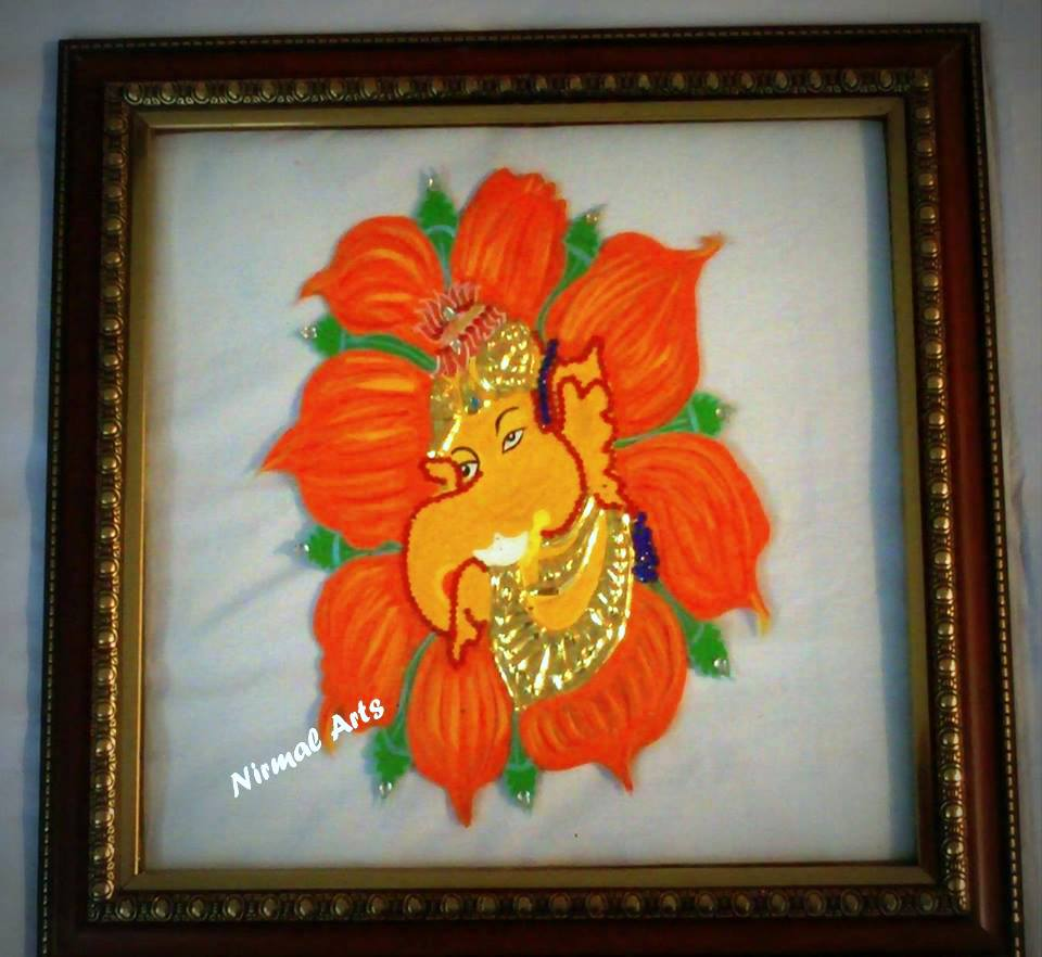 Tanjore glass painting lord ganesh in flower in india for Mural glass painting