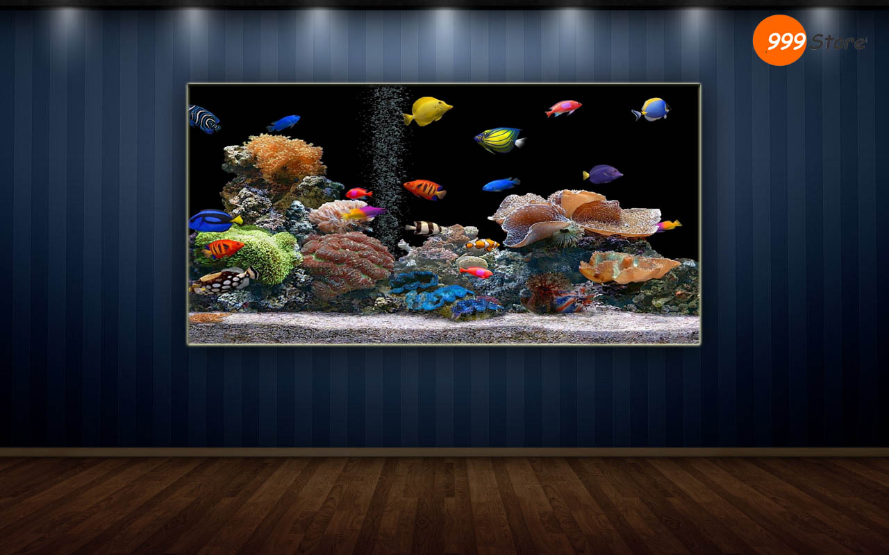 Buy living room fish aquarium printed wall art painting for Buy mural paintings