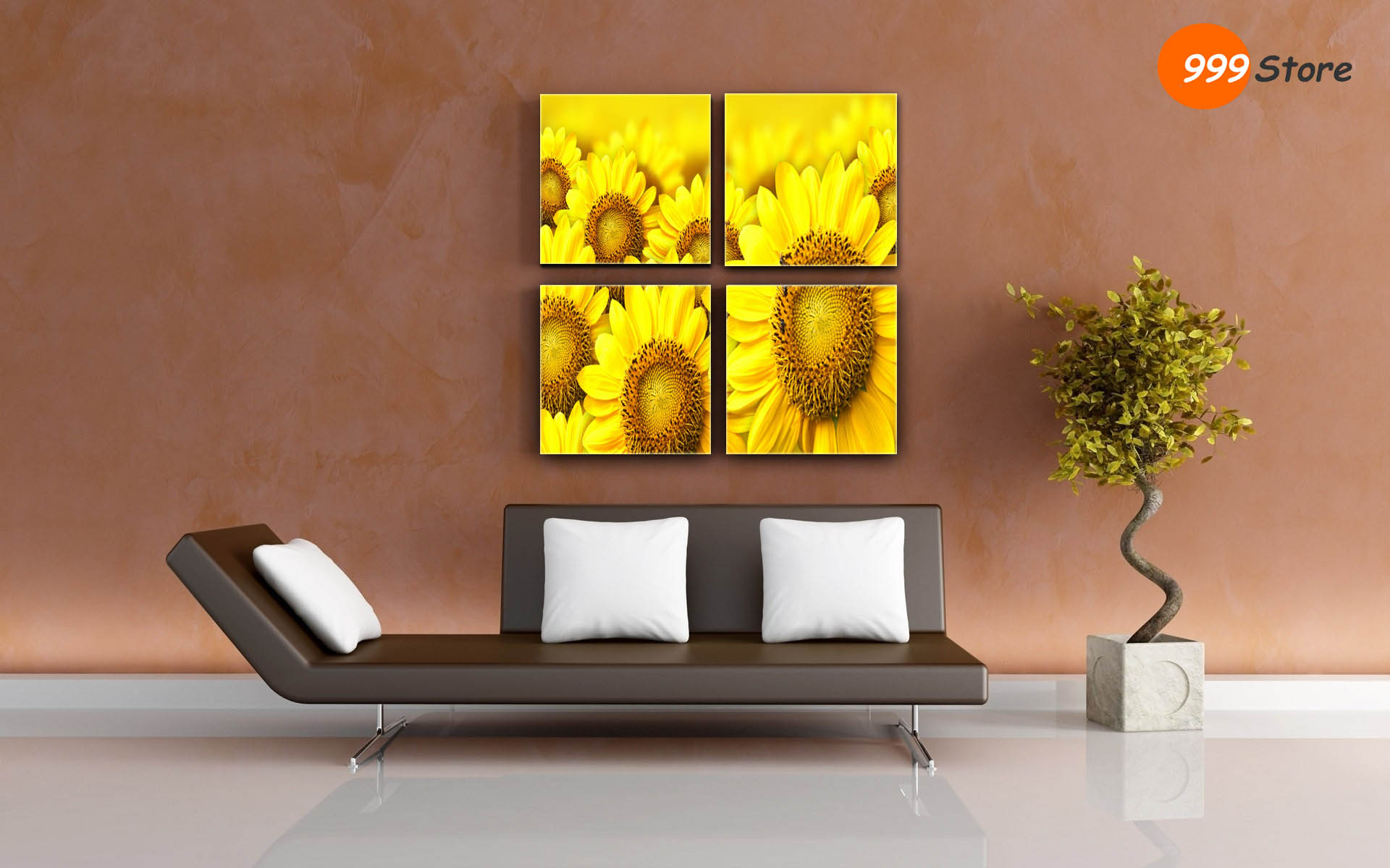 living room sun flowers canvas printed wall art painting 4 fra