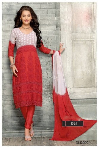 latest embroidered white and red designer anarkali suits