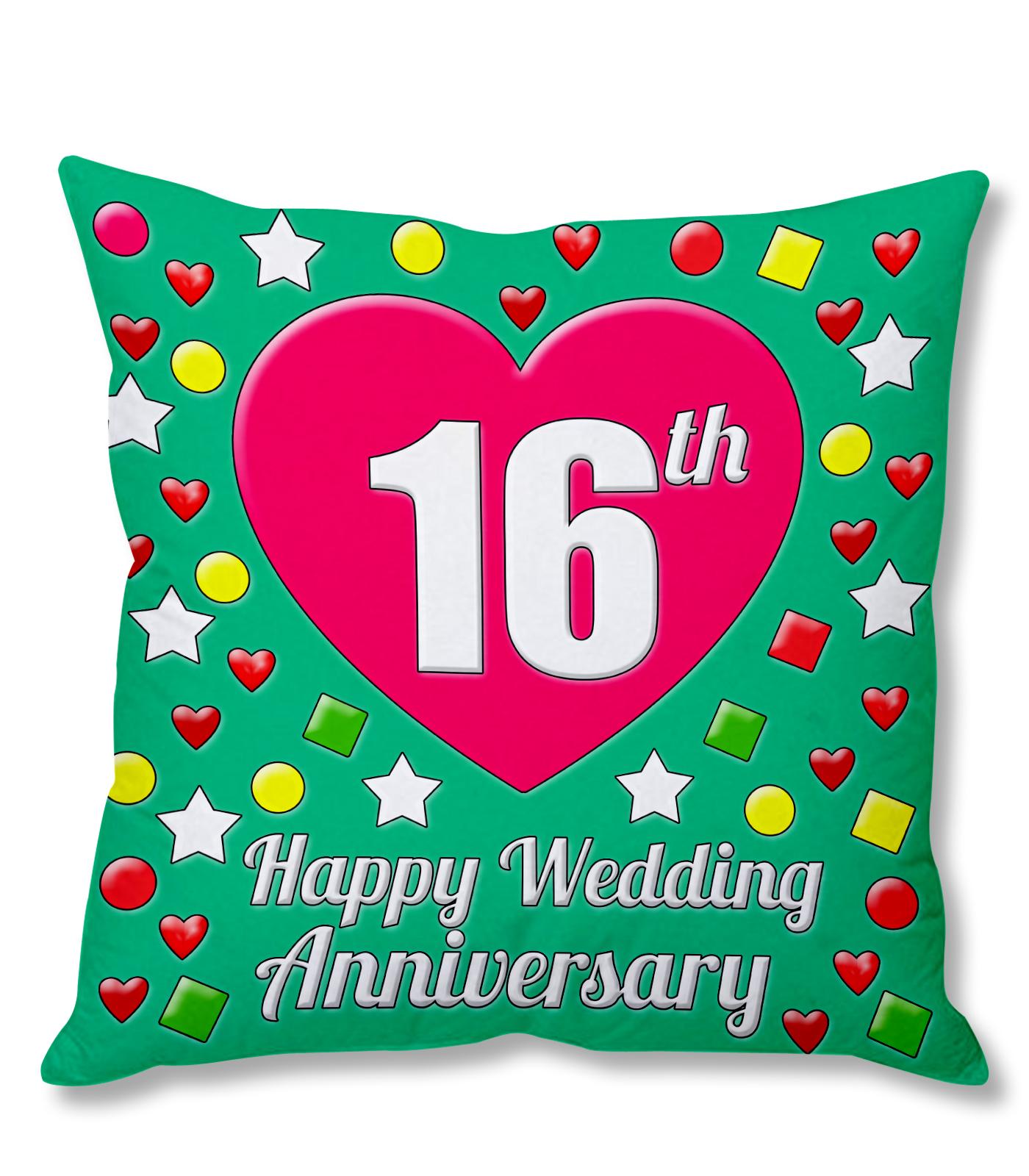 16th Happy Wedding Anniversary Multi-Colour Printed