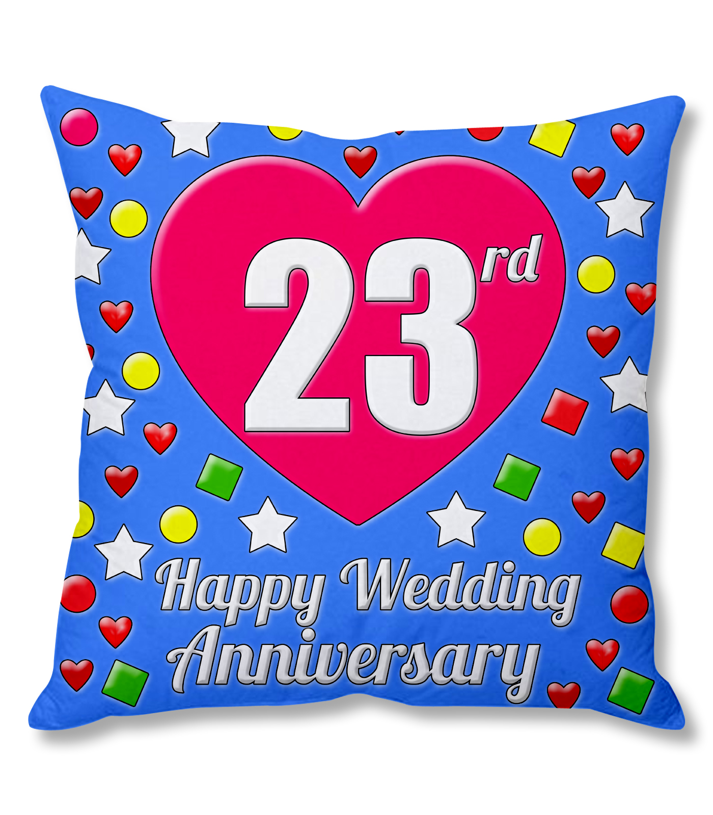 23rd happy wedding anniversary multi colour printed cushion cover buy online from shopclues com
