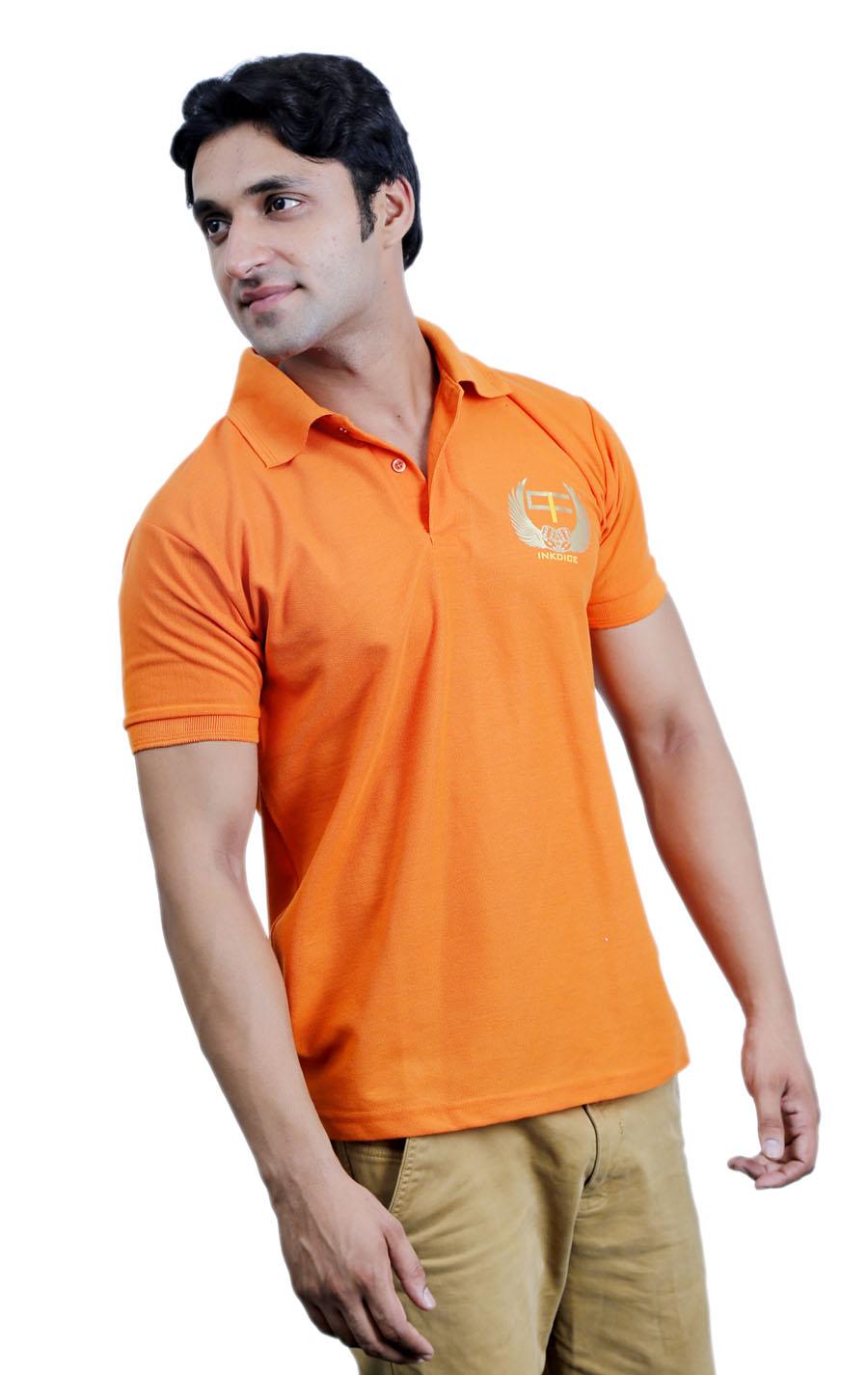 Fashion men 39 s apparel western wear polos for Orange polo shirt mens