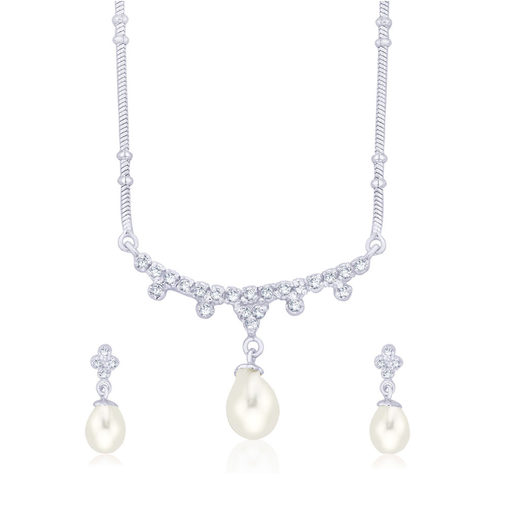Taraash Stunning Pearl And Cz 925 Sterling Silver Necklace Set For Women Ns1043S