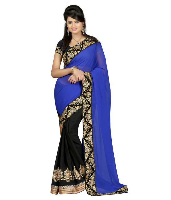 Janasya Blue Colour Georgette Saree