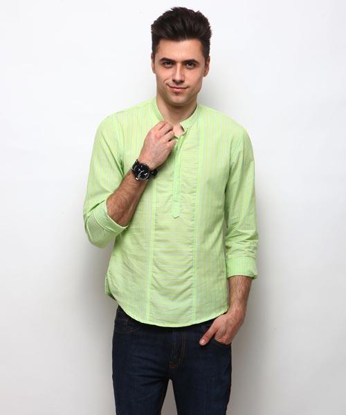 Yepme Wincon Stripes Kurta Shirt - Green