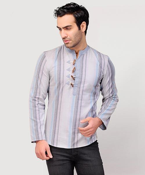 Yepme Aidan Stripes Kurta Shirt - Grey