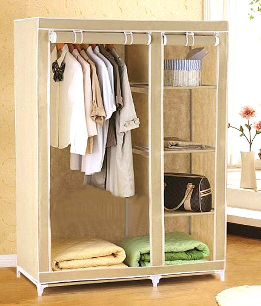 EI 3.5 feet Folding Wardrobe Cupboard Almirah Foldable Storage Rack Collapsible available at ShopClues for Rs.1975