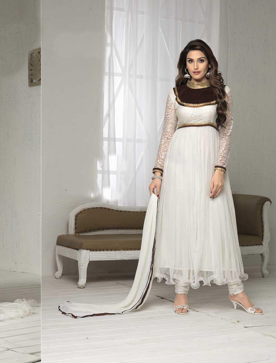 Thankar Fabulous Latest Designer White Anarkali Suits