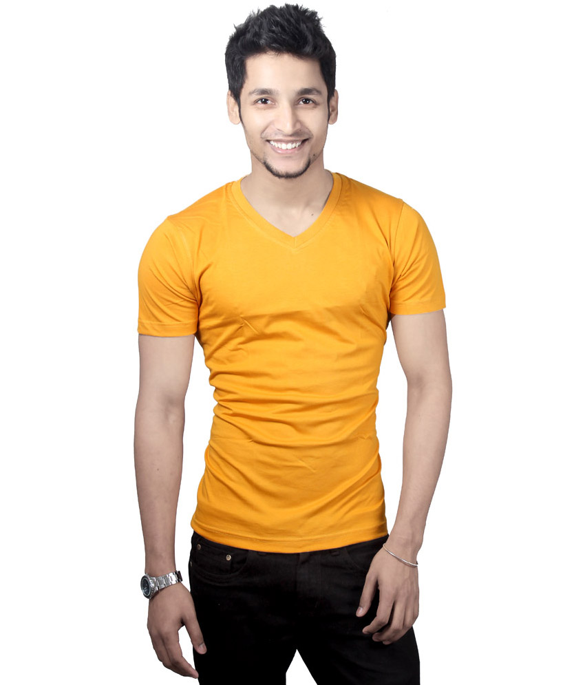 Buy Cotton V Neck Yellow T Shirt Online In India
