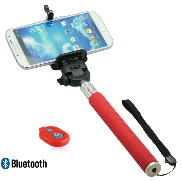 red color extendable selfie stick wireless remote control battery included. Black Bedroom Furniture Sets. Home Design Ideas