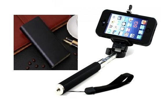 combo offer 20800 mah power bank with monopod extendable selfie stick. Black Bedroom Furniture Sets. Home Design Ideas