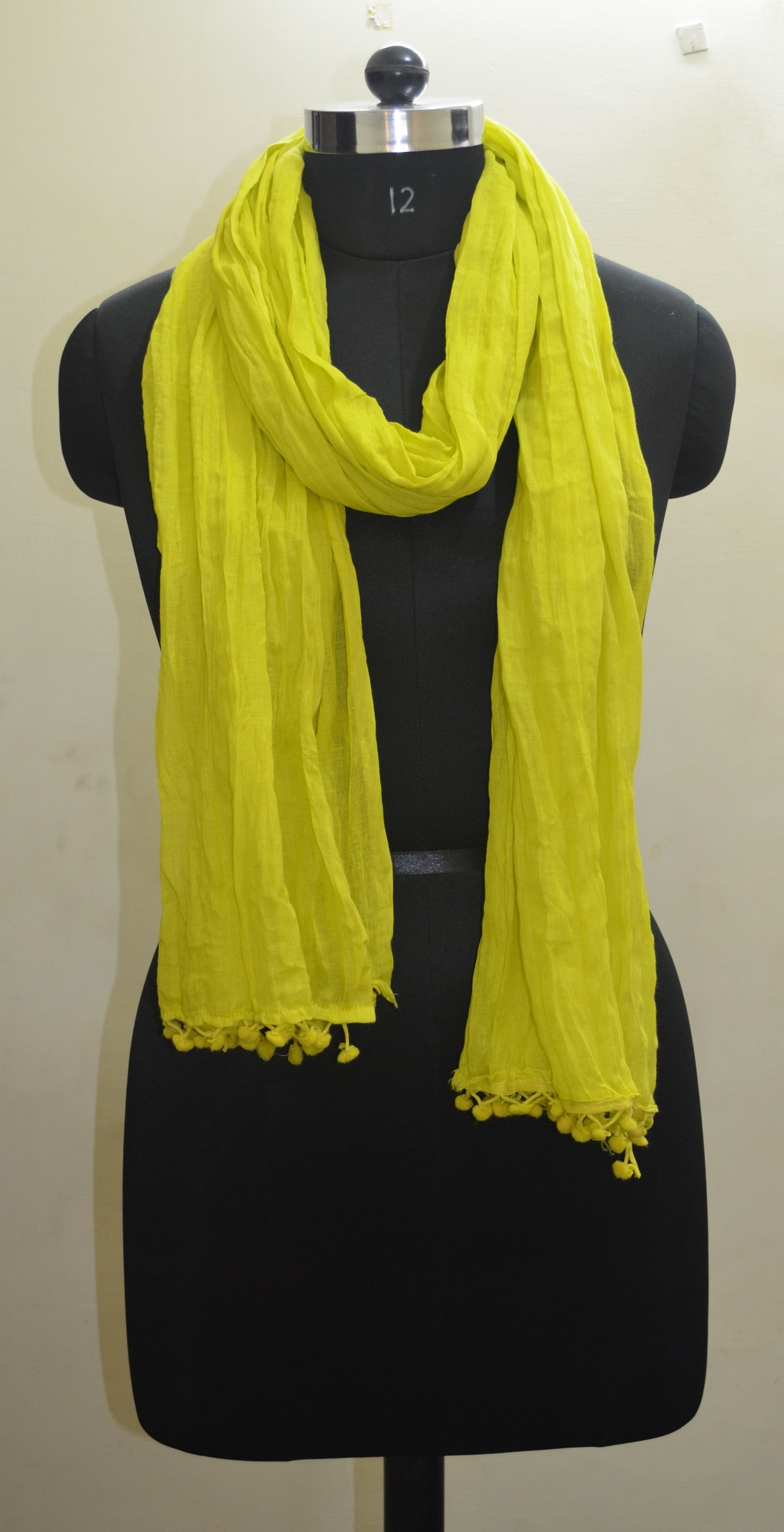 Crinkle Cotton Scarf Duppatta Girls Shawl Neck Wrap Hijab Scarf Yellow SCA 02-08