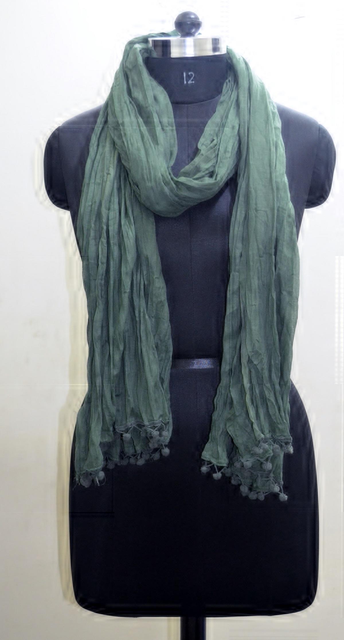 Crinkle Cotton Scarf Duppatta Girls Shawl Neck Wrap Hijab Scarf Bottle Green