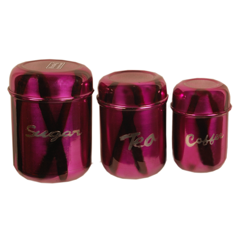 Canister Set Of 3 Sugar Tea Coffee In Pink