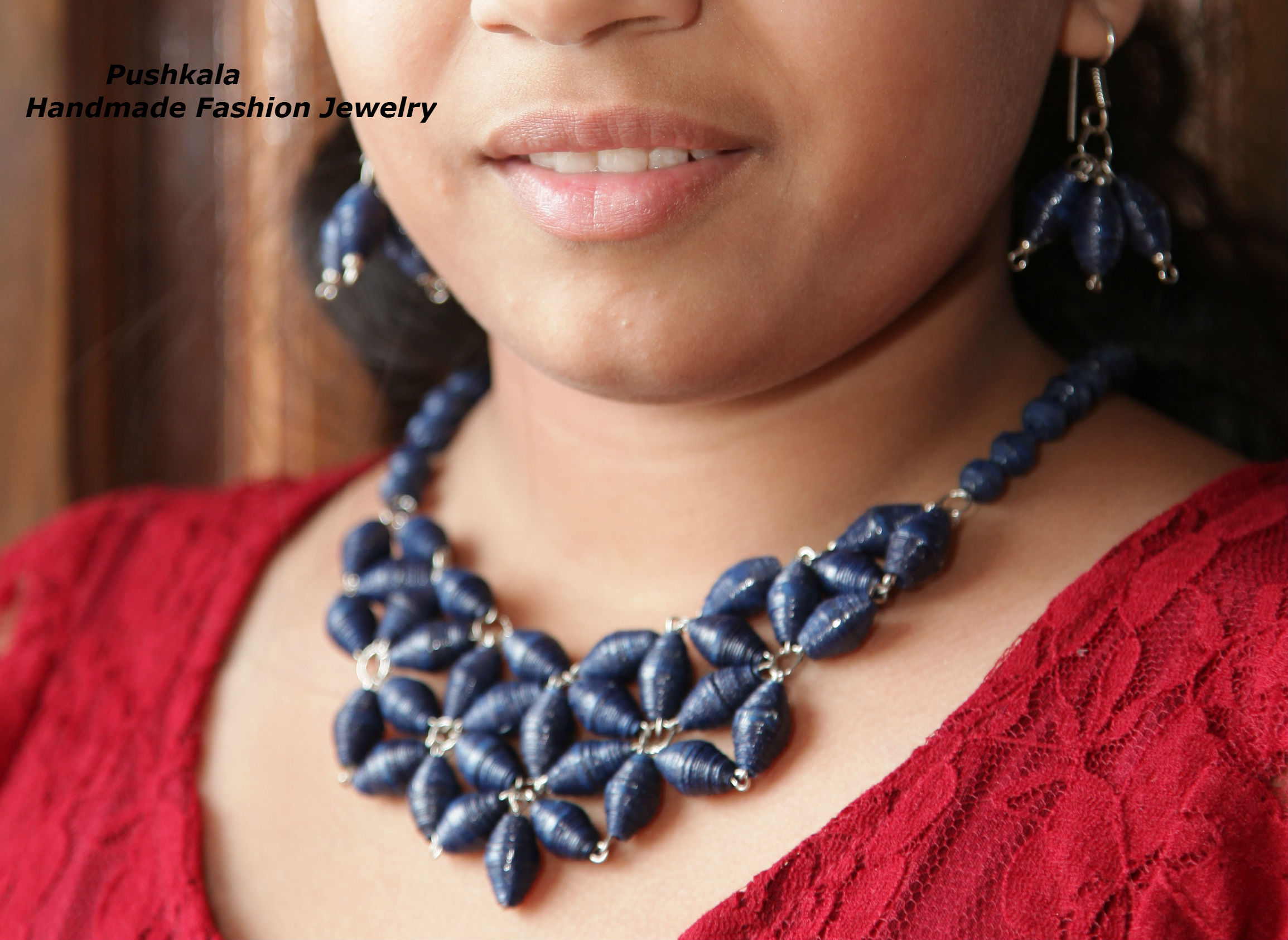 Pushkala - Handmade paper bead necklace set for women ( Blue )