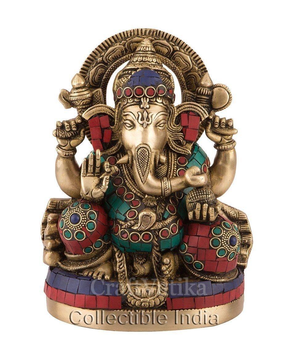 Buy 9 Large Ganesha Idol Brass Ganesh Sculpture Hand Work Ganpati Statue Home Decor Online In