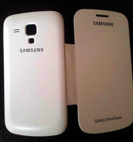 White Samsung Galaxy Trend S Duos 2 7582 Flip Cover Case Pouch