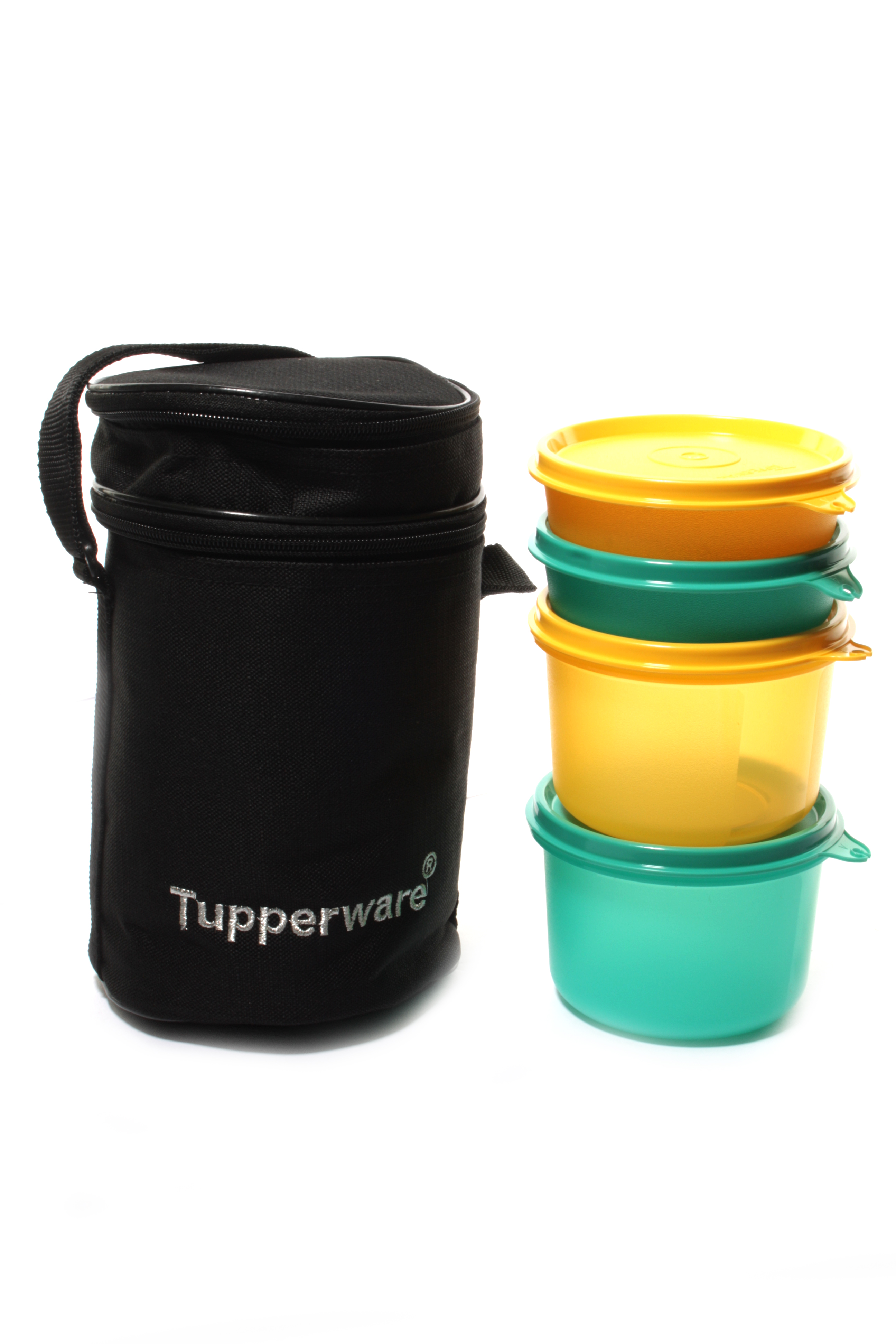 shop tupperware executive lunch box with insulated bag 4 bowls black bag online shopclues. Black Bedroom Furniture Sets. Home Design Ideas