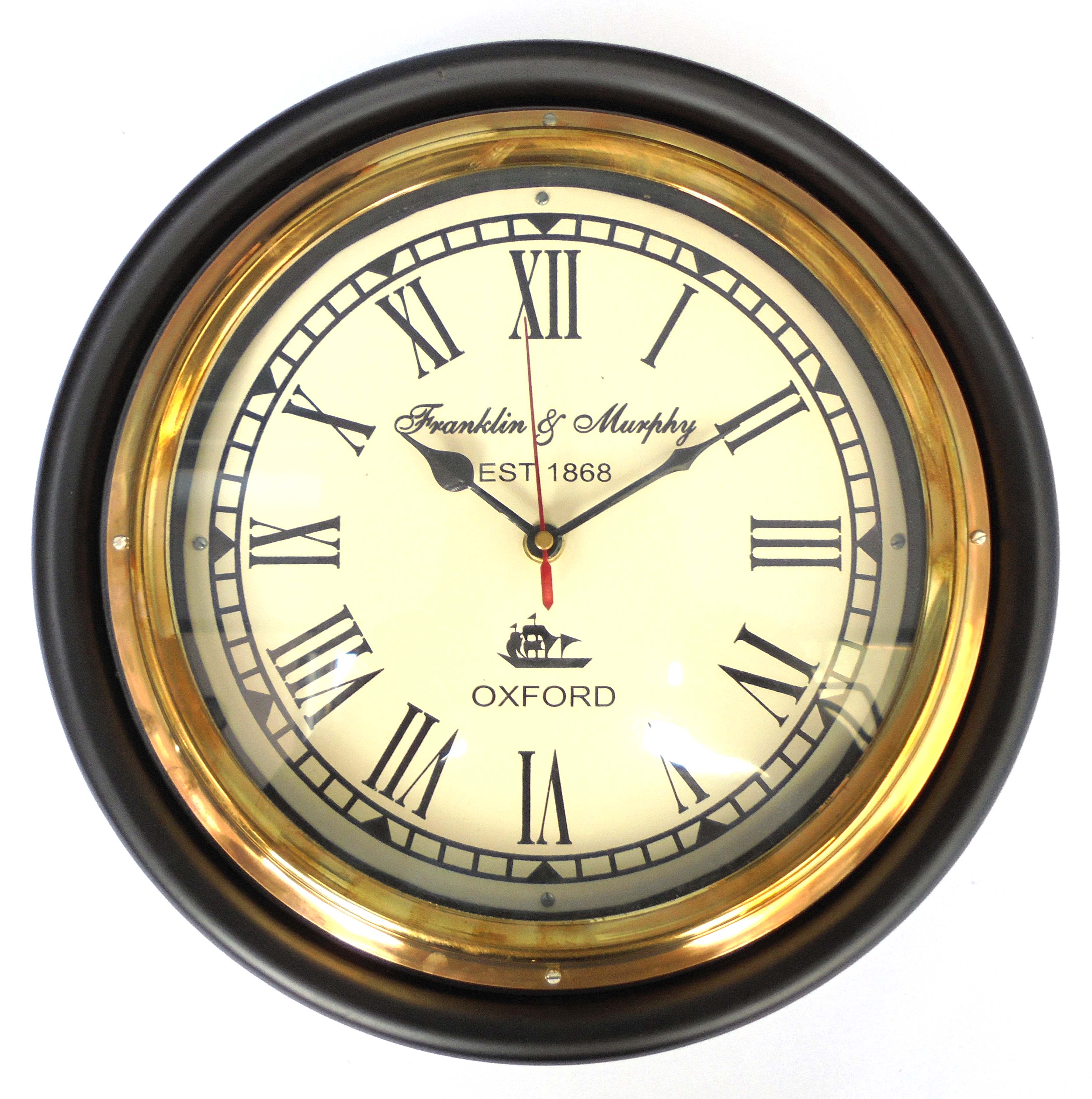 Buy ageless azyra vintage antique look wood and brass wall for Antique wall clock wood