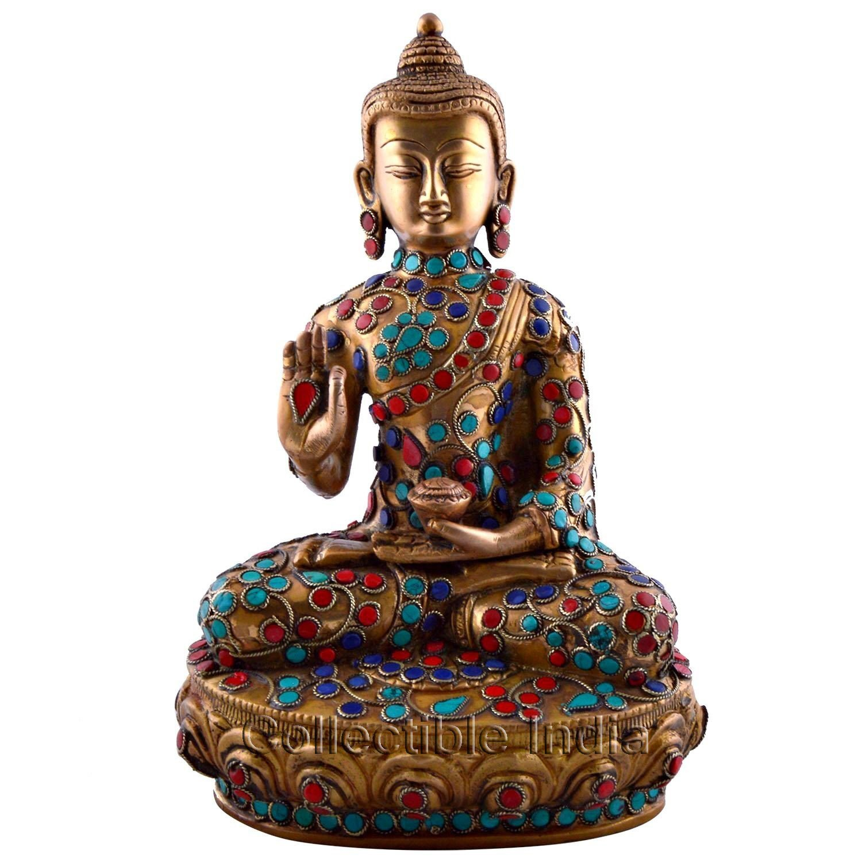 Buy 9 large buddha idol brass sculpture meditating for Buddha decor