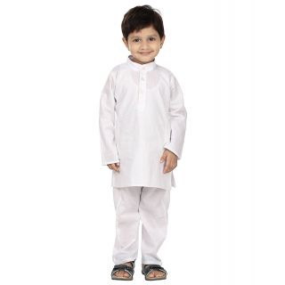 SABYA EMPORIO White Solid Kurta  Pyjama Set For Boys
