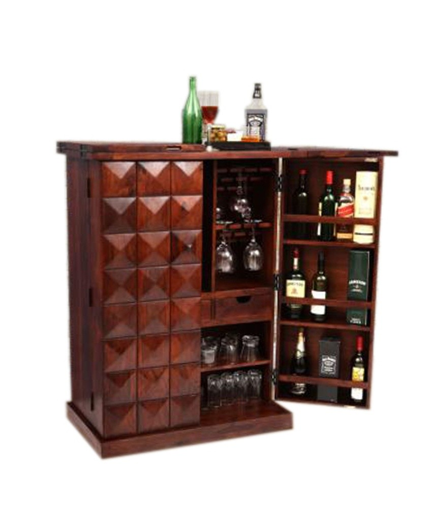 Buy Home Trading Wooden Diamond Bar Cabinet Online In