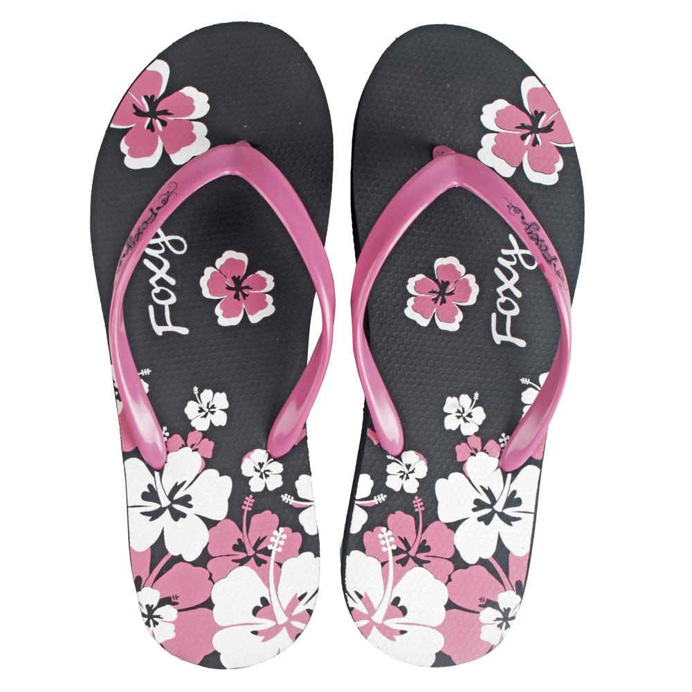 FIZIK Women's Flip Flops Black-Purple (Flower-2)