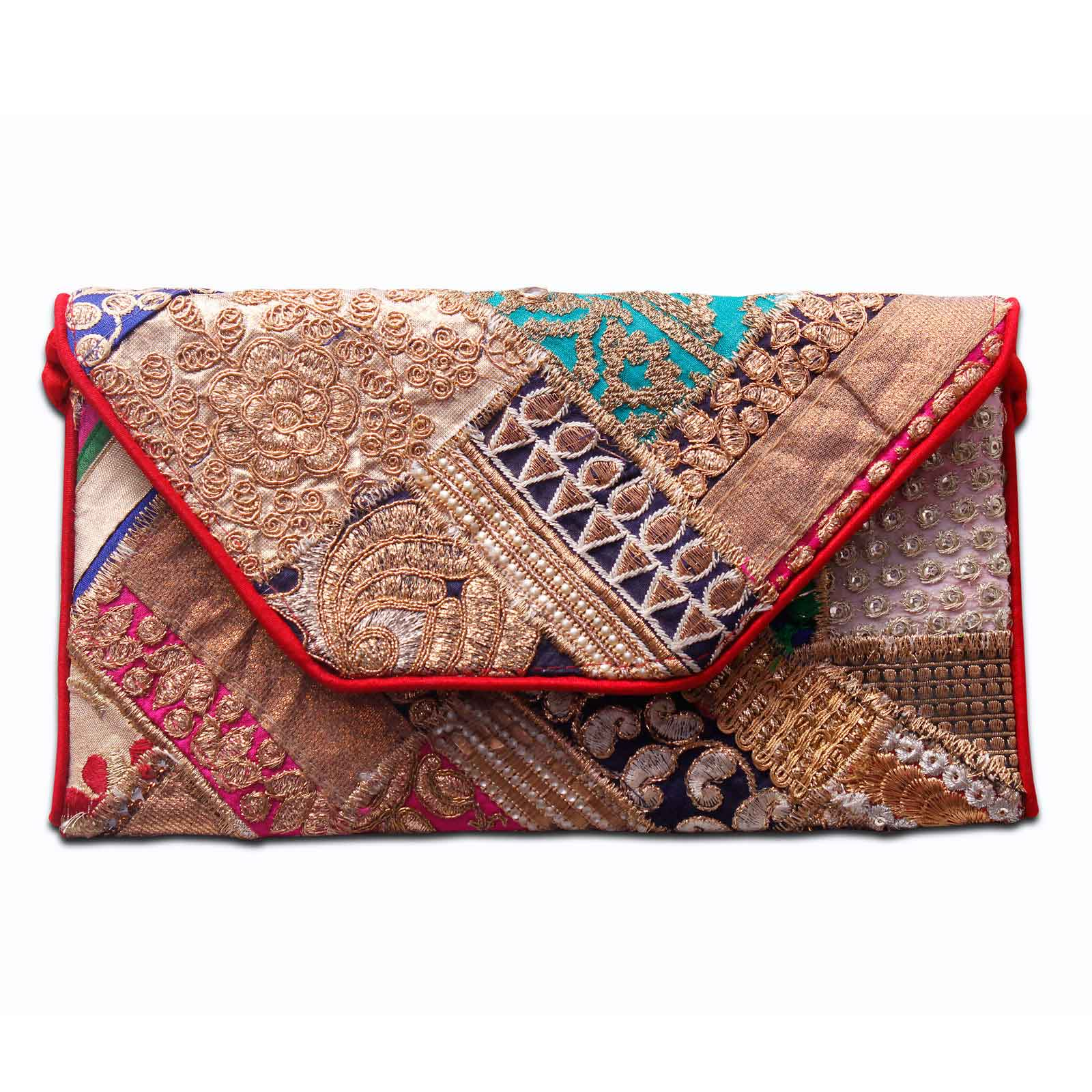 Halowishes Jaipuri handmade Embroidered with Red Piping Womens Hand Clutches-111