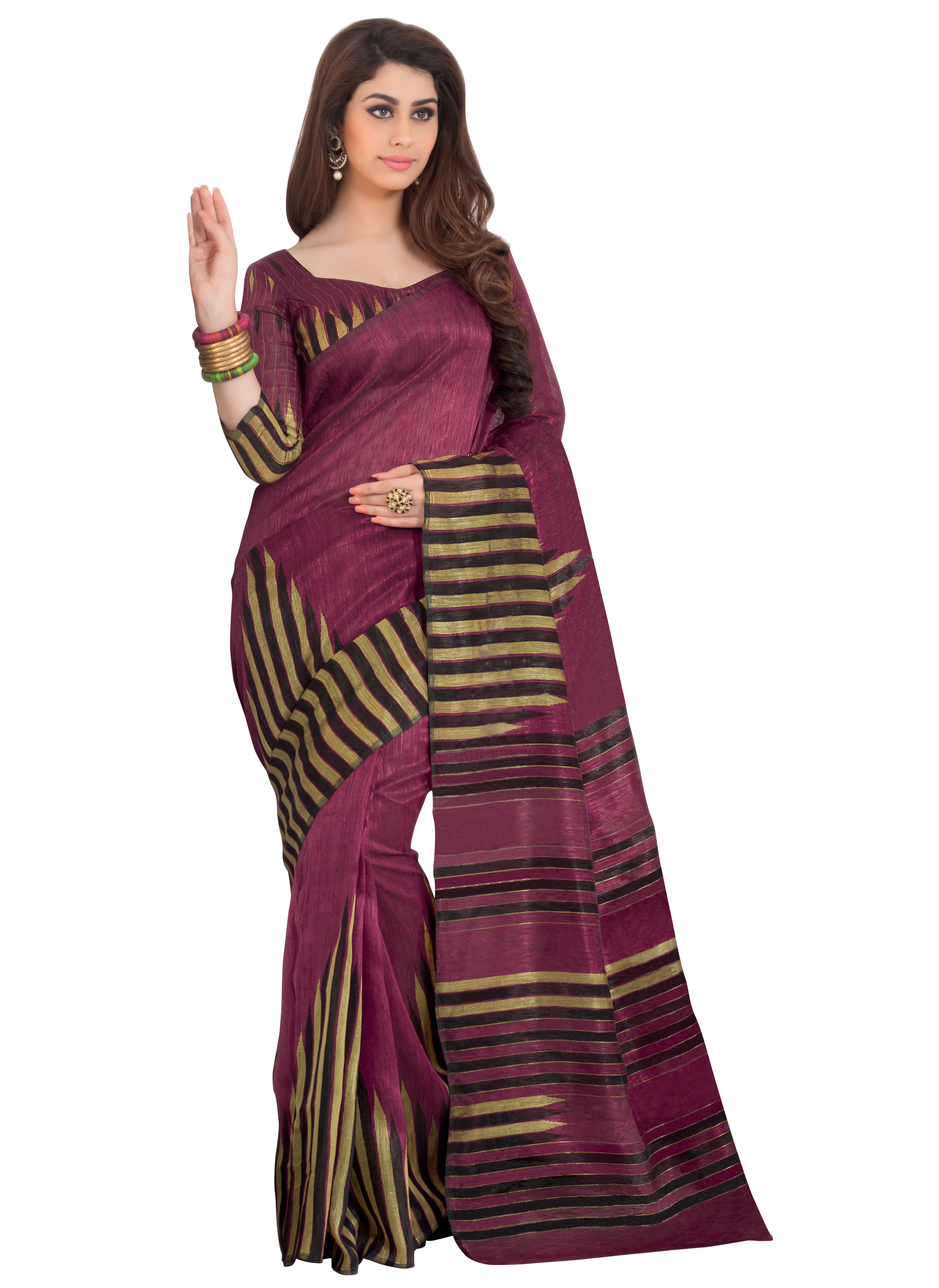 Prafful Maroon Jute Silk Saree With Unstiched Blouse GS99145