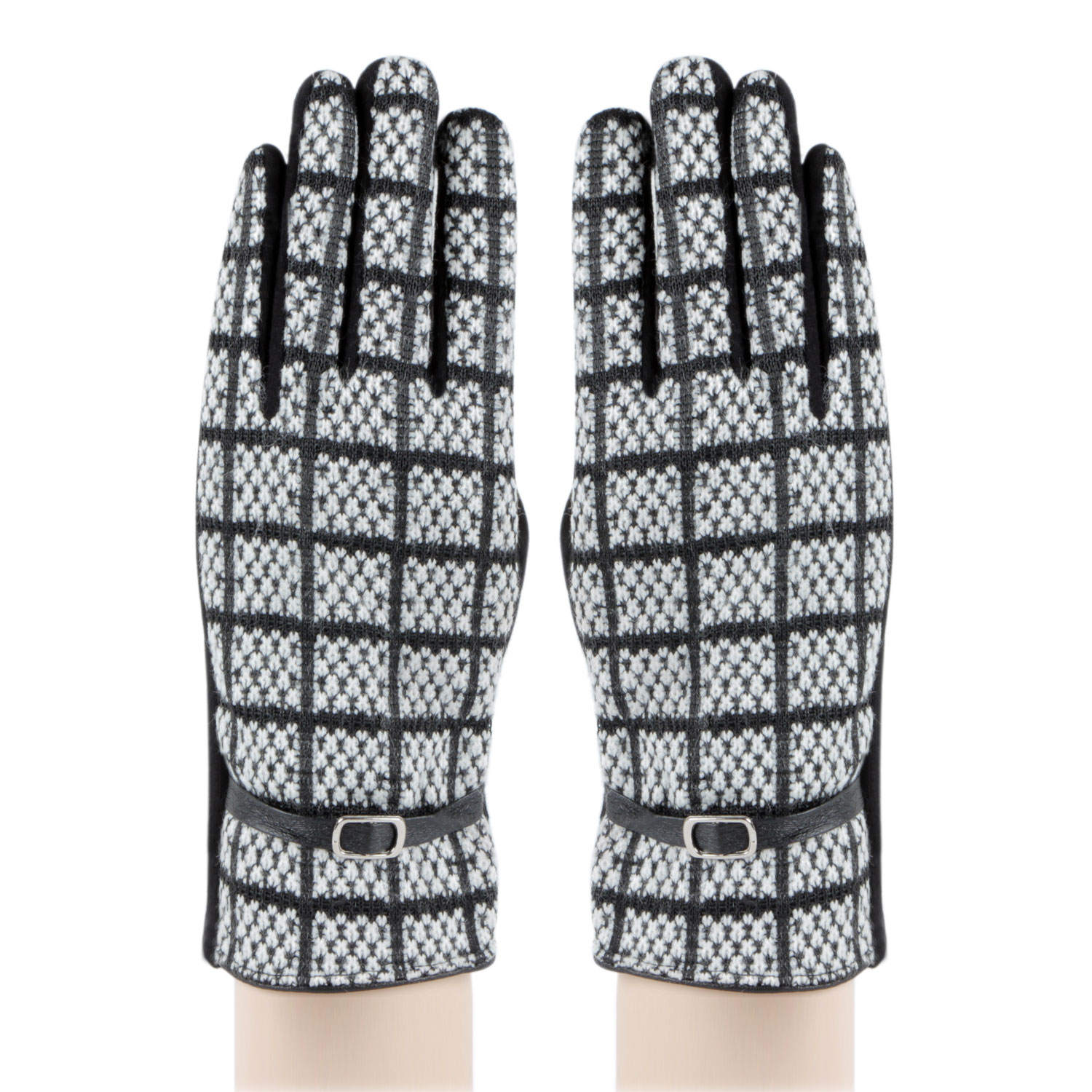 Women's Check Pattern Black  Winter Gloves By Bonjour_RWW5Z14007A