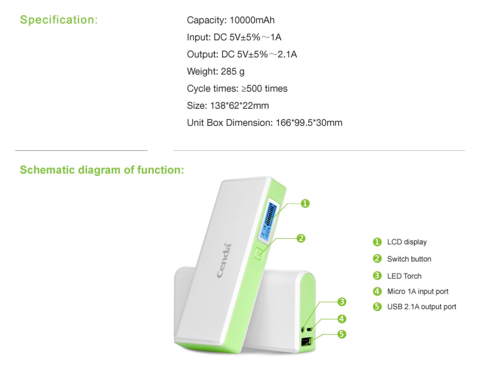 Online Cenda V8 Smart Power Bank 10 000mah With Smart Led