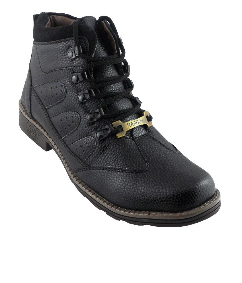 Elvace Black Officers Boot Men Shoes-5036
