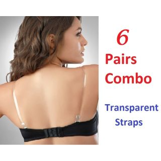 College Girl Transparent Bra Straps With Metal Hooks (Pack of 6 pairs)